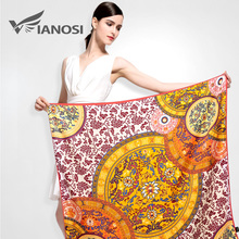[VIANOSI] Luxury Brand Scarf Big Size Print Women Shawl Silk Square Scarf Wrap Fashion Bandana Soft Ladies Hijab VA036