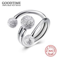 Simple Round Ball Rings 925 Sterling Silver Jewelry Exquisite Frosted Beads Rings For Women Solid 925 Silver Ring Party Jewelry