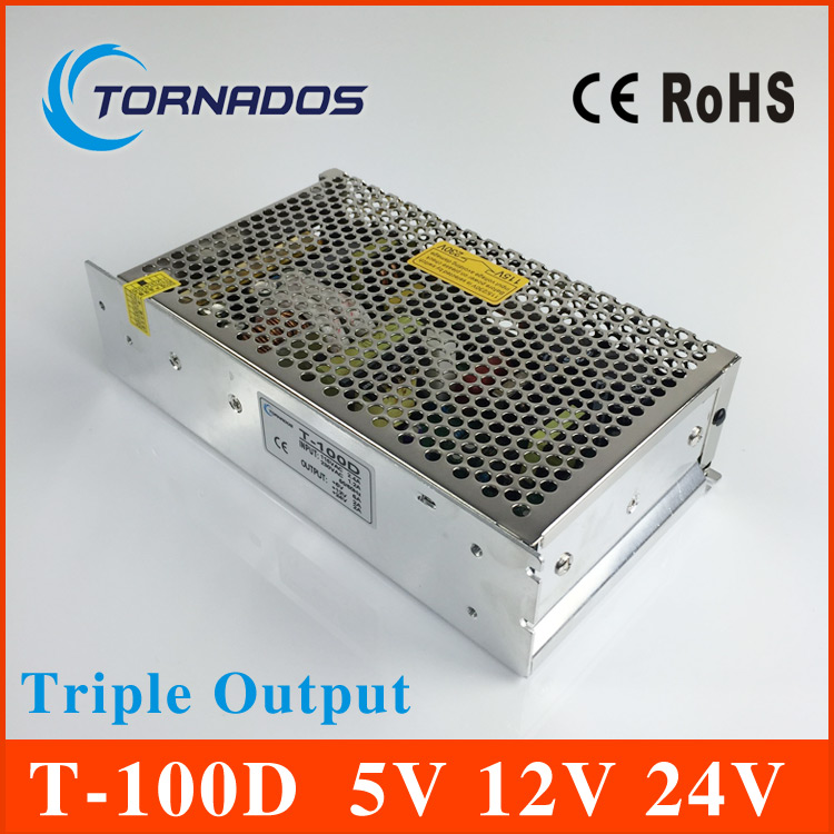 Triple Output switching power supply 100W 5V 6A 12V 2A 24V 2A ac to dc power supply T-100D high quality  CE approved<br>