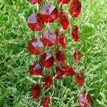 wholesale 50m/lot red crystal octagon beads in 2 holes diy garland strands for chandelier parts/wedding,party decoration(China)