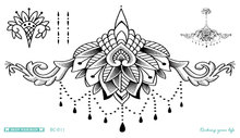 BC-011/Latest Mandala Tattoo Waterproof Body Fresh Temporary Sleeve Spots Art Tattoo Stickers Fake Fashion Tattoos chest Design