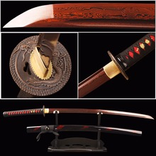 Red Damascus Blade Samurai Sword Japanese Katana Folded Steel Battle Ready Espada Practical Sword Sharp Knife Samurai Cosplay(China)