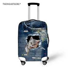 TWOHEARTSGIRL Blue Animal Denim Cat Travel Luggage Cover Waterproof Luggage Protector Scratch Trolley Suitcase Cover 18-30inch