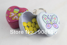 12pcs Cute Heart Shaped Iron Tin Storage Box Trinket Candy Jewelry Box  Pill Box with Key Chain ring -  Free Shipping