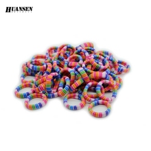 HUANSEN 40pcs/lot Scrunchy 95% Nylon Striped small size Children hair accessories Nice Elastic hair bands for girls women(China)