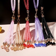 Bling Rhinestone Diamond Phone Lanyard Straps Fashion Shiny Cell Phone Charm Colorful sparkly Jewelry Long Neck Mobile Chain
