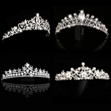 Girls Gold diadem princess crystal bridal tiara trendy headband wedding bride Tiaras and Crowns for rhinestone hair accessories
