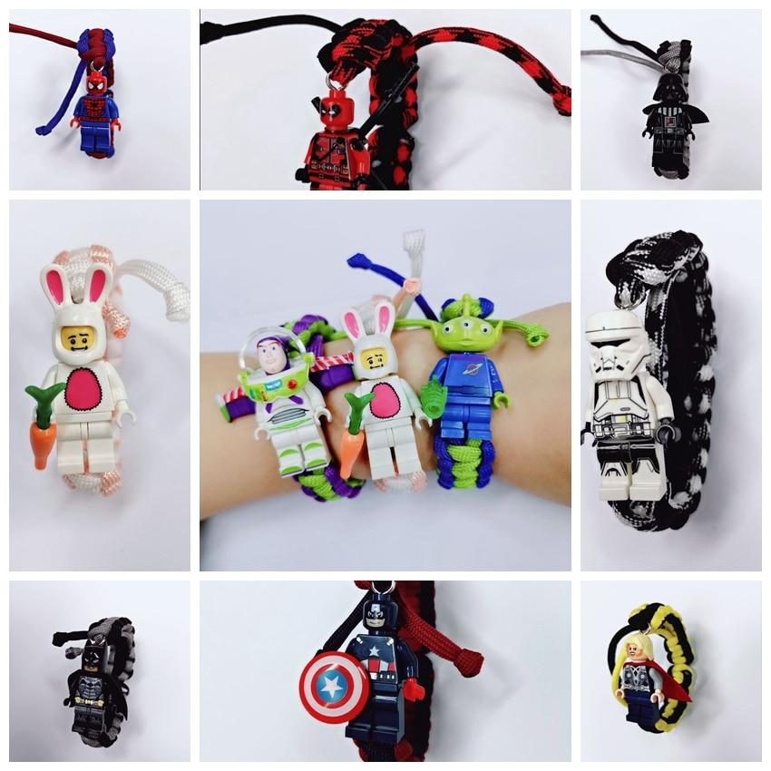 Legoing Toy Story Buzz Lightyear Bracelet Handmade Figure Iron Man Batman Darth Vader Chicken Unicorn Panda Blocks Toys Legoings