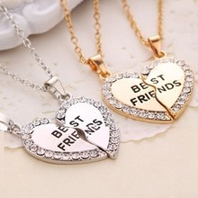 NK2022 Fashion Collares New Bijoux Crystal Charming Match Heart Best Friends Pendant Necklace For Women Chain Jewelry Gift Girl