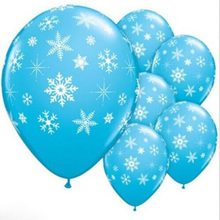 Snow Latex Printed Balloons Snowflake Ballon Christmas Halloween Wedding Birthday Balloons Decoration Supplies