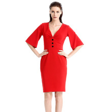 Buy New Fashion Women Dress Spring Elegant V Neck Solid Silm Sexy Dress Tunic Work Party Business Bodycon Sheath Pencil Office Dress for $23.99 in AliExpress store