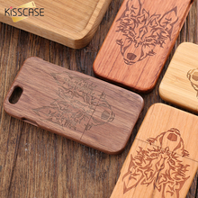 KISSCASE Real Wood Bamboo Case For iPhone 6 6s Plus 5 5S SE Case Vintage Rosewood Wooden Back Coque Bumper On For iPhone 6 5(China)