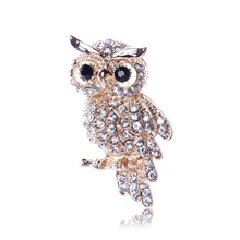 Fashion Gold Color Owl Style Shiny Crystal Inlay Lady Jewelry Rhinestone Brooches For Weddings XZ0025