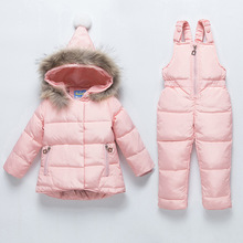 Children's Down Jacket Baby Girl Boy Clothes Sets Winter Warm Hooded Newborn Infant Snow 90% White Duck Down 1 2 3 Years(China)