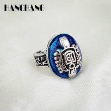 1PC Women Vintage Jewelry Ring Vampire Diaries Damon Salvatore Letter D/S Sun Crest Ring Lapis Oval Ellipse Ring for Female Girl(China)
