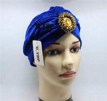 new fashion gold beaded Sparkle dimond jeweled velvet turban headwrap head wrap hair hat VT-568