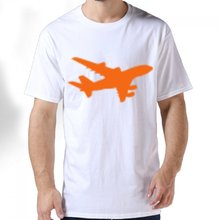 2017 Summer New High-quality men's Creative short-sleeved jet Boeing airbus plane Design Gildan Premium Cotton Print T-Shirt(China)