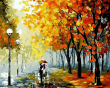 Central Park lovers rainy pictures landscape Oil Painting picture By Numbers Room Decor Hand painted Paintings display Wall Art(China)
