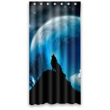 36w*72h inch  Wolf Roaring at Night Moon Art Shower Curtain Waterproof Bath Curtain Hook Attached
