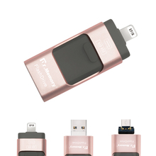 3 In 1 Metal OTG USB Flash Drive 32GB 64GB 128GB High Speed Pen Drive For iPhone 5 5s 6 6 Plus 7 iPad(China)
