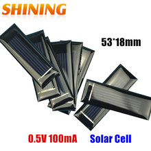 20PCS/Lot Mini Small 0.5V 100mA Solar Cell Panel Solar Module Accessories For Science and Technology Toy DIY Study 53*18mm(China)