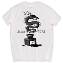 Ink Raven men customized t-shirt Ink Dragon retro printed Men fashion tops Punk style fashion hipster design cool tee shirts(China)