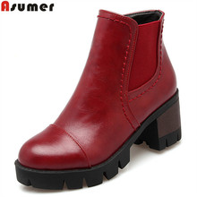 Asumer black wine red gray women boots square heel new arrive ankle boots platform zipper autumn winter ladies boots