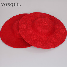 NEW ARRIVAL 30CM red big size millinery SINAMAY fascinators base with lace party hats DIY hair accessories cocktail headpieces