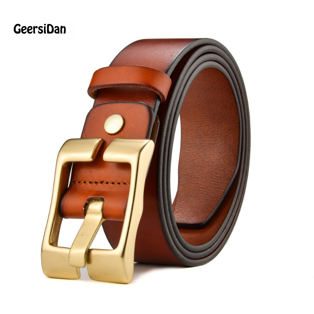 cinto masculino 2016 new designer high luxury brand genuine leather Pure copper smooth buckle belts men 100% cowhide