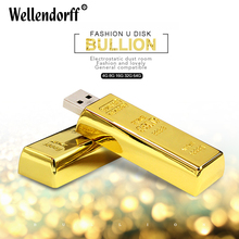 Hot USB Flash Drive bullion gold bar USB 2.0 Flash Drive U Disk to 64GB 8GB 16GB 32GB flash drive Pendrive Usb thumb Gift
