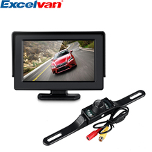 "2 In1 Car Parking System Kit 4.3"" TFT LCD Color Rearview Display Monitor + Waterproof Reversing Backup Rear View Camera(China)"