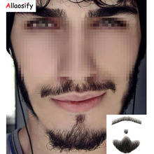 Allaosify 2018 The Latest Handsome Mature Beard Invisible Real Hair Fake Beard Handmade(China)