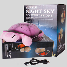 HOT!!!Children Toys Turtle Night Light+usb start for Children Music Lights Mini 4 Colors 4 Songs Star Lamp Star Sky Projector(China)