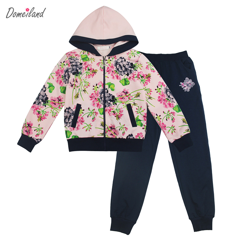 2017 spring brand domeiland Children clothing sets kid girl long sleeve sweater hooded jackets Floral clothes pants tracksuits<br>