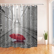 Paris France Decor Red Umbrella in Rain Eiffel Tower Shower Curtain(China)
