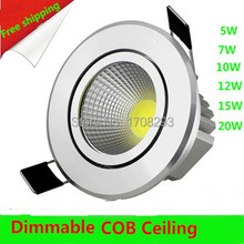 Wholesale 20PCS 3W5W7W10W high power cob led dowlights Dimmable Warm white/cold white round ceiling Free shipping