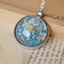 Glass Dome Blue White Small Flowers Necklaces Manual Natural Dried Flowers Epoxy Necklaces for Girls Antique Silver Chain nxl027