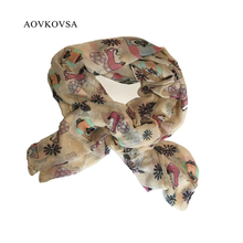 AOVKOVSA 2017 Rushed Adult Cotton Scarf Women Squirrel Owl Yarn Printing Voile Cartoon Animal Scarves Wraps