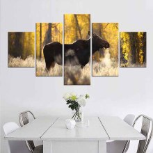 5 Pcs/Set Sunshine Elk Canvas Print Painting Modern Brown Animal Wall Art Golden Forest Landscape Picture for Living Room Decor