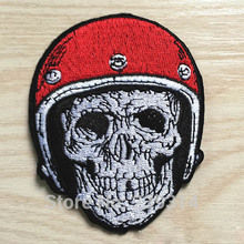 The Skull Has Rugby Football Helmet Patch of Sticker, Punk Skull Fabric Iron on Patch, Biker Vest DIY Clothing Accessories
