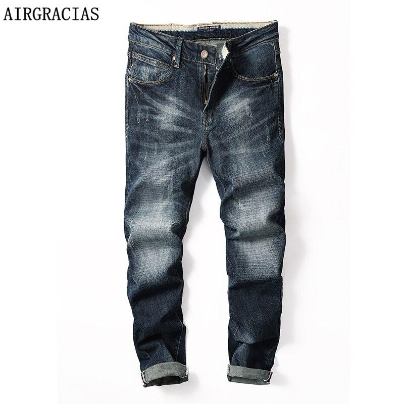 AIRGRACIAS Brand Jeans Autumn Style Brand Mens Jeans Cotton Classic Denim Jeans For Men Dark Blue Color Biker Jean 28-40 X6365Îäåæäà è àêñåññóàðû<br><br>