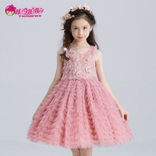 The girl new princess tutu dress summer for size 4 5 6 7 8 9 10 11 12 13 14 years child pink dress piano performance costumes