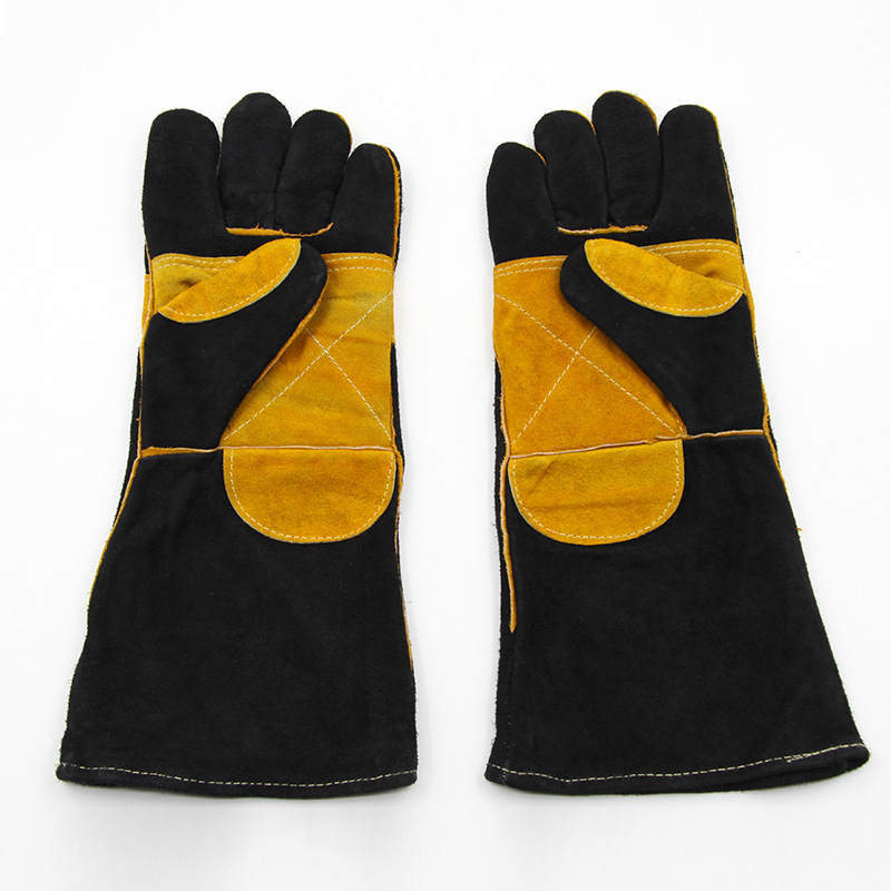 The new guantes trabajo 43 cm black leather welding gloves pattern of thickening mechanic gloves prevent cut thorns<br><br>Aliexpress