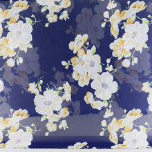 Large Flowers Pattern Soft Chiffon Material Sheer