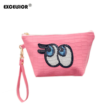 EXCELSIOR Women Cute Big Eye Make Up Hobos Bag Sequined Daily Clutch Purse Messenger Bags Crocodile PU Leather Handbags Bolsas(China)