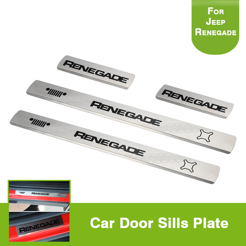 4pcs For Jeep Renegade 2015-2017 Stainless steel Black Door sills Guards Plates