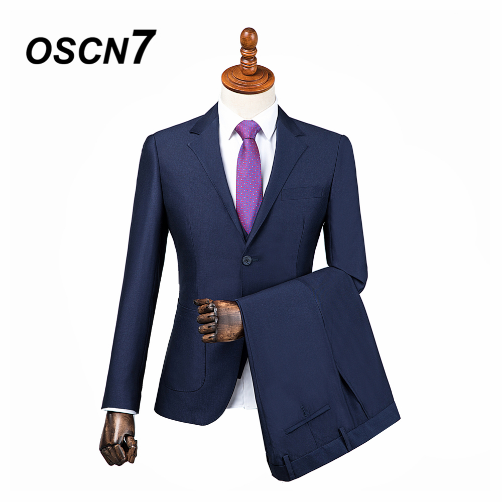 OSCN7 2019 Plain Custom Made Suits Men Slim Fit Wedding Party Mens Tailor Made Suit Fashion 3 Piece Custom Supplier DM 014