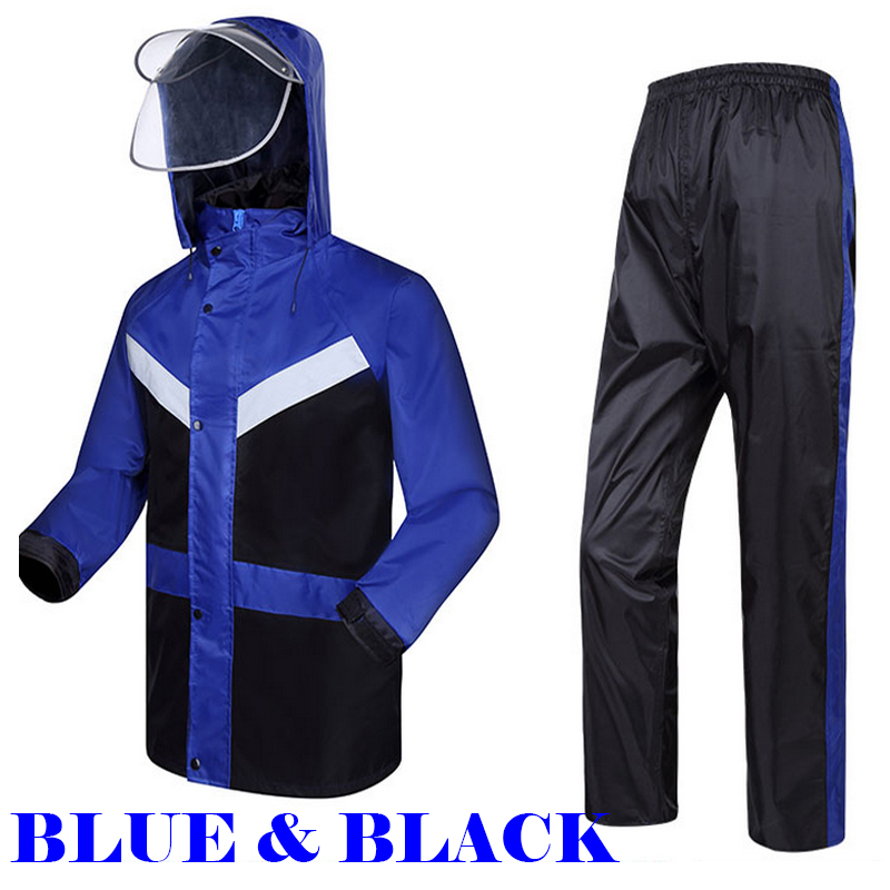 Reflective blue and black raincoat waterproof windproof windbreaker with reflective tapes rainsuit jacket trousers free shipping<br>