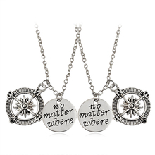 2pcs/set no matter where Double Hollow Compass box and needle Pendant Necklace Special Gift For Lovers Friends Jewelry