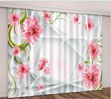 pink sheer Curtains Luxury sunshade Living Room wedding bedroom decorate 3D window Cortina Drapes Rideaux Customized pillowcase(China)